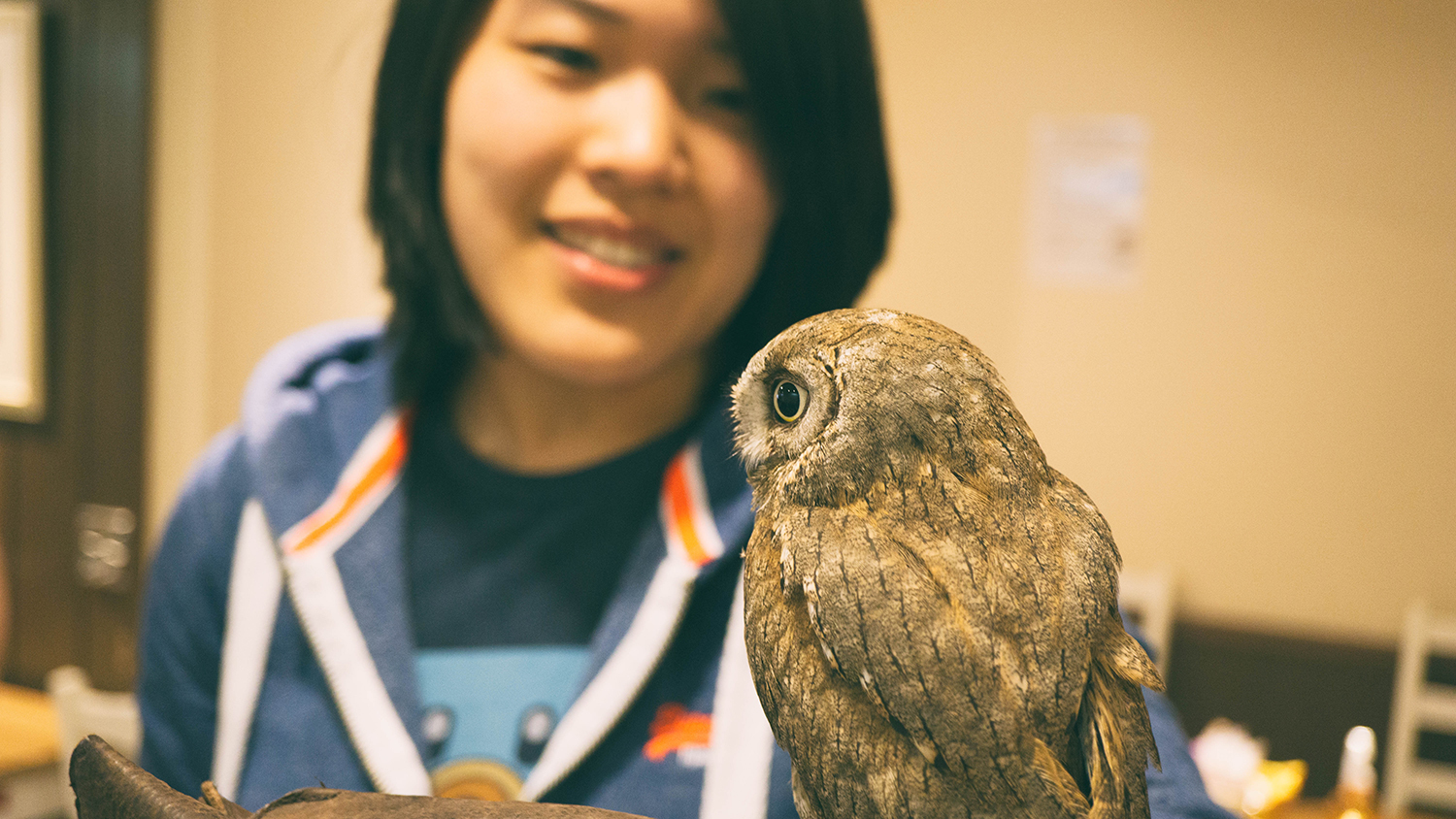 Me holding an owl.